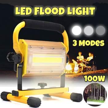 100W المحمولة قابلة للشحن الصمام الأضواء الكاشفة بطارية تعمل بالطاقة بقيادة الكشاف مصباح العمل في الهواء الطلق التخييم