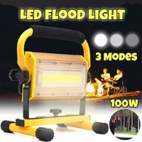100w Portable Rechargeable Floodlight LED Spotlight Battery Powered Led Searchlight Outdoor Work Lamp Camping