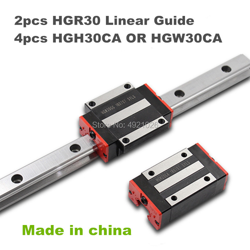 30MM 2pcs linear rail HGR30 700 800 900 1000mm cnc parts and 4pcs HGH30CA or HGW30CC linear guide rails block HGW30CC hgh30