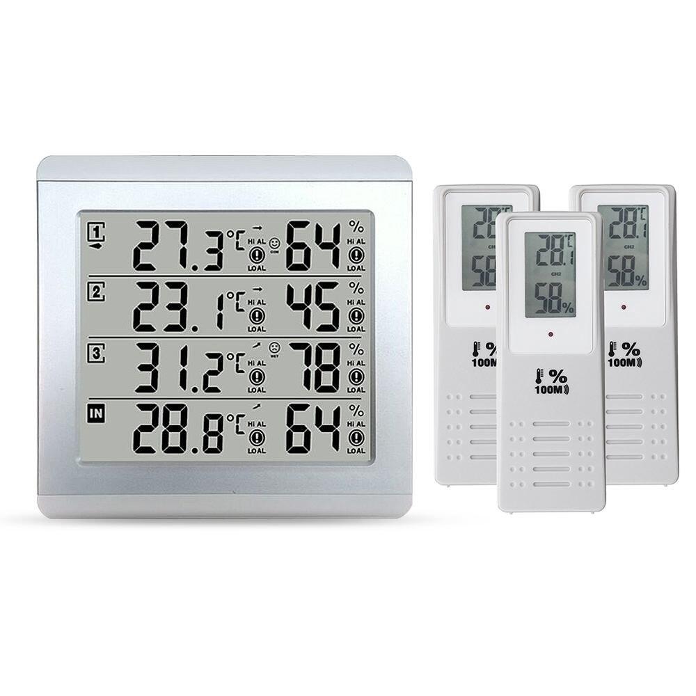 LCD thermomètre alarme température mètre Station météo testeur + 3 transmetteur extérieur sans fil capteur d'humidité moniteur alerte - 3