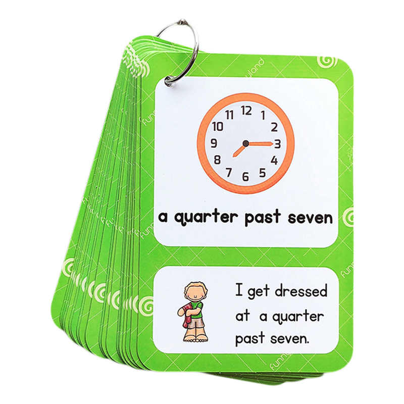 English Time Clock Expresses Students' Daily Life Sentence Short Sentence Enlightenment English Card Early Education Learning