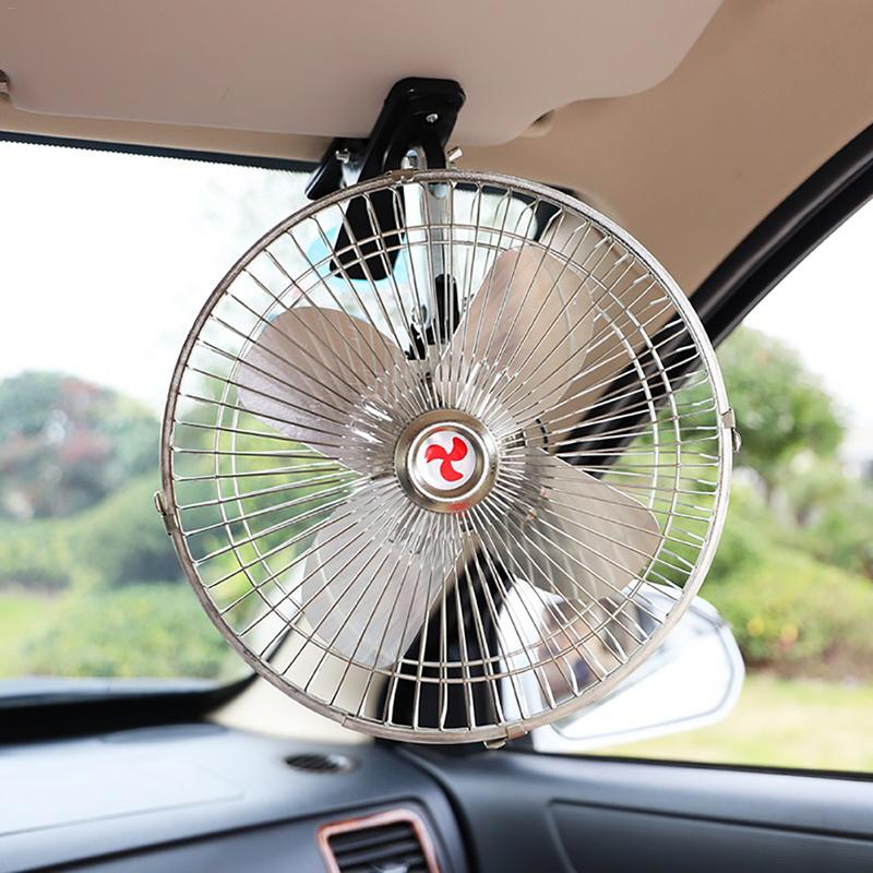 Car Electric Fan With Double Head 12v 24v Van Small Truck