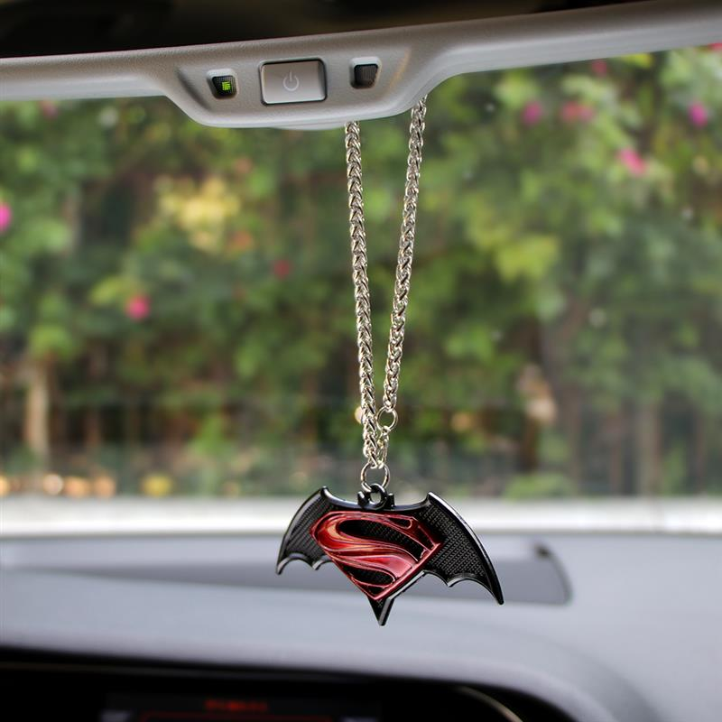 Car Pendant 3D Metal Hanging Decorations Ornaments Automobile Interior For Superman Batman Emblem Rearview Car Accessories