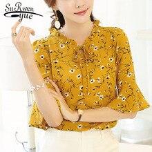 Fashion Women Tops and blouses 2019 Ladies tops Floral Print Chiffon Blouse Bow Neck Shirt Short Sleeve Plus Size Blusas 37i 25