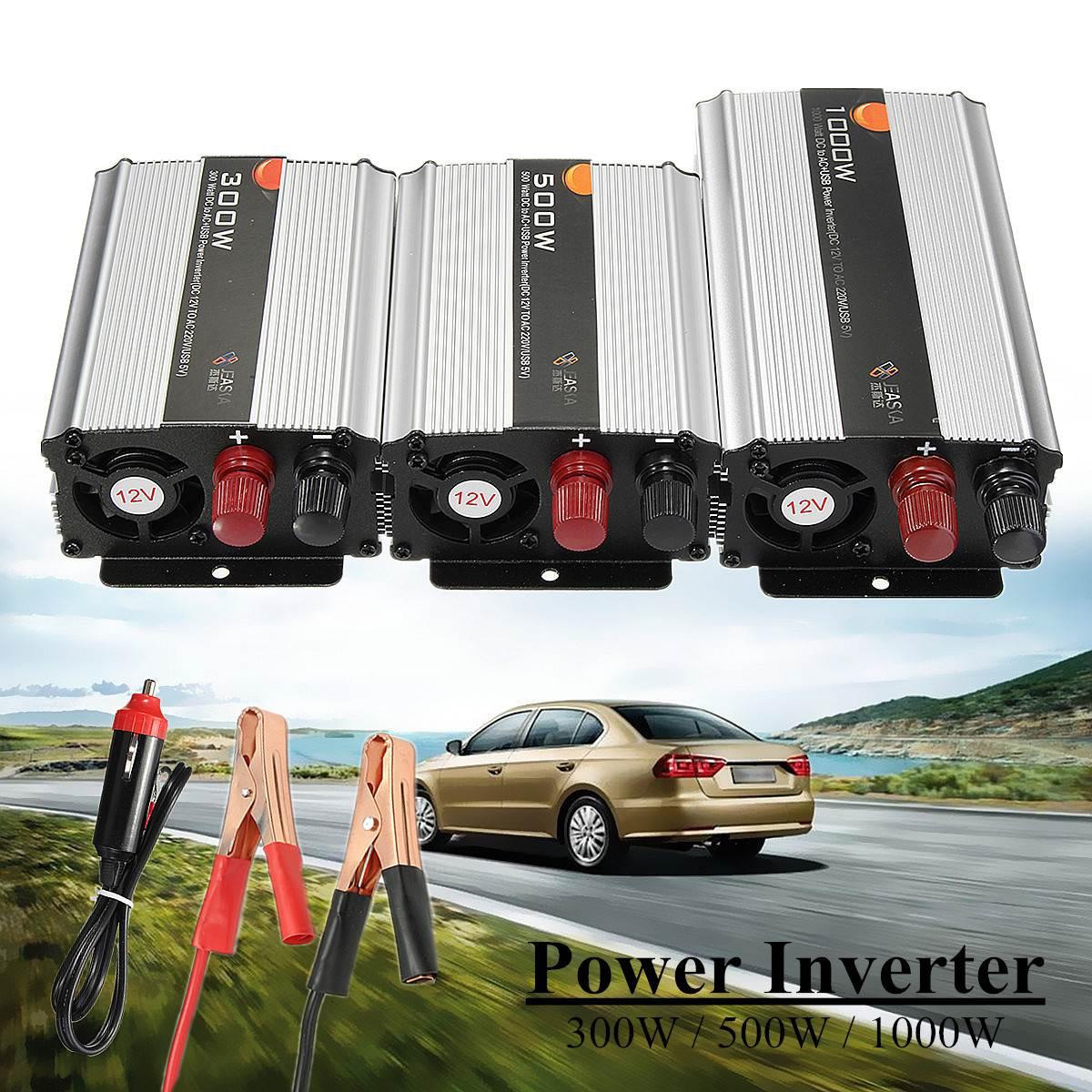 Convertisseur d'inverseur de puissance d'onde de KROAK 1000 W/300 W/500 W DC 12 V à AC220V 90 surcharge sinusoïdale modifiée de voiture automatique portative d'efficacité