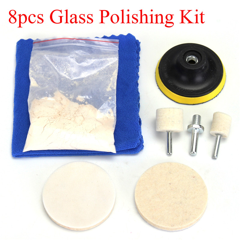 8Pcs Deep Scratch Remove Glass Plolishing Tool 70g Windscreen Repair Cerium Oxide Glass Polishing Kit W/ 3Inch Pad