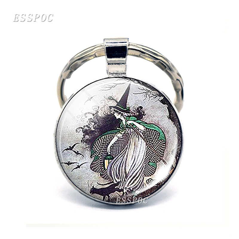 Ведьма и Ворон трюк или лечение ювелирных изделий Samhain Хэллоуин стеклянный кабошонный купол брелок серебряные металлические брелки лучший подарок моды