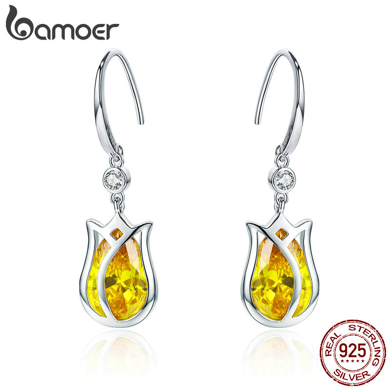 BAMOER Elegant 925 Sterling Silver Yellow Tulips Flower Drop Earrings for Women Yellow Zircon Earrings Luxury Jewelry BSE065BAMOER Elegant 925 Sterling Silver Yellow Tulips Flower Drop Earrings for Women Yellow Zircon Earrings Luxury Jewelry BSE065