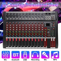Audio Mixer with USB Karaoke Professional 12 Channel bluetooth Studio DJ Mixing Console Amplifier Digital Mixer 48V for KTV
