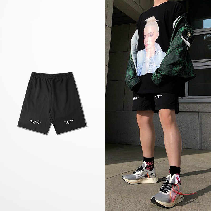 Sommer Schwarz Casual Shorts Männer Koreanische Version Lose Fünf Cent Shorts Rechts Links Drucken Hip Hop Skateboard Kanye West Boardshorts