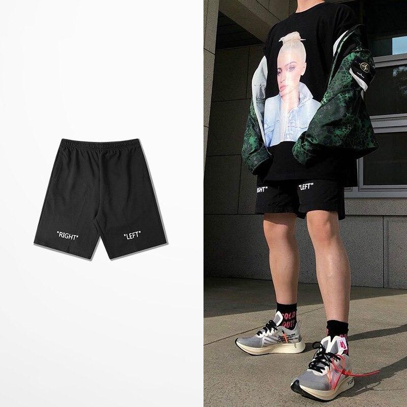 Summer Black Casual Shorts Men Korean Version Loose Five Cent Shorts Right Left Print Hip Hop Skateboard Kanye West Boardshorts