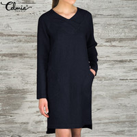 Celmia Autumn Winter Dresses 2019 Sexy V neck Long Sleeve Shirt Dress Casual Loose Pockets Female Vestidos Mujer Plus Size 5XL