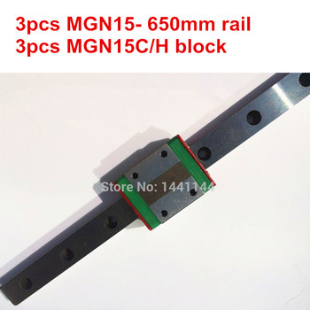 MGN15 Miniature linear rail:3pcs MGN15 - 650mm rail+3pcs MGN15C/MGN15H carriage for X Y Z axies 3d printer parts