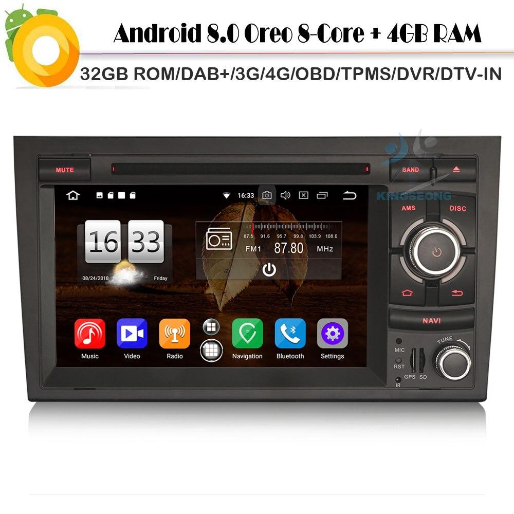 DAB + Octa Core Android 8.0 Autoradio Bluetooth Sat Navi lecteur d'autoradio pour Audi A4 S4 RS4 RNS-E 8E WiFi 4G GPS CD BT DVR OBD