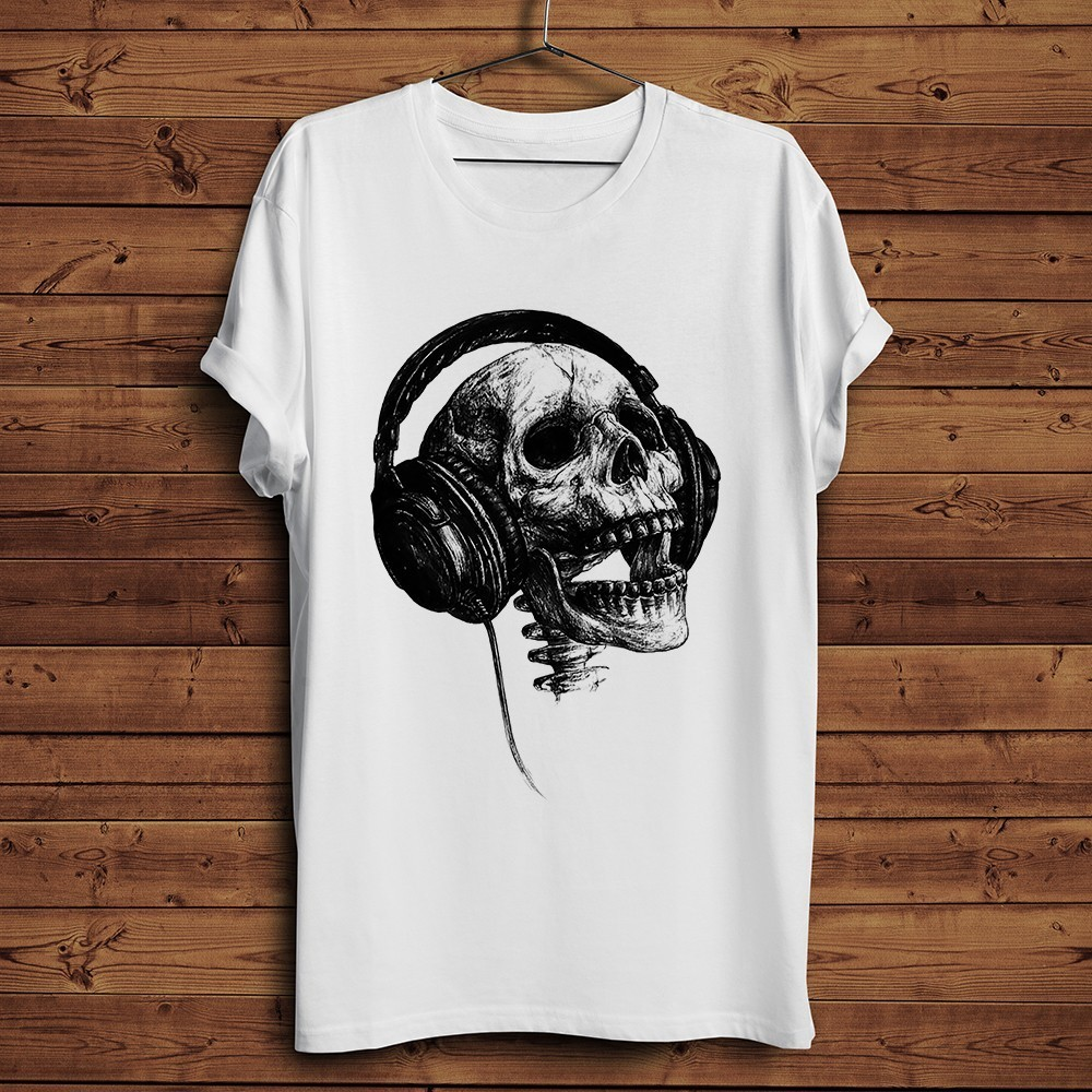Skull with headphones ink hand drawn sketch cool T-shirt men summer 2019 new short sleeve white casual funny t shirt