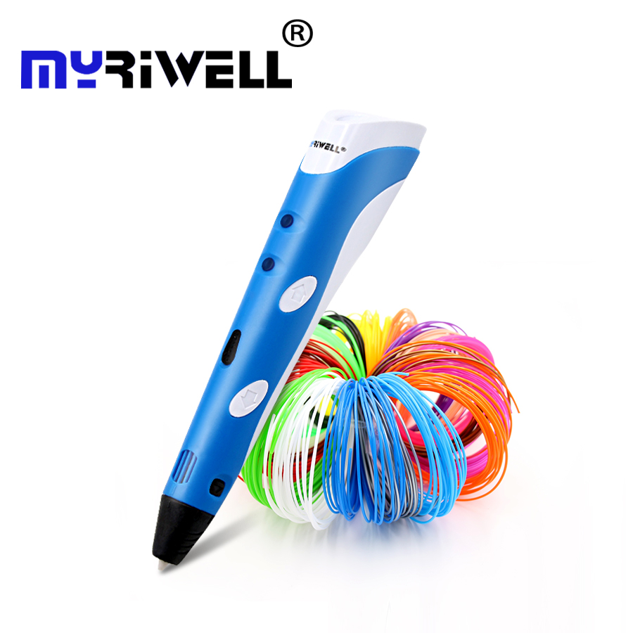 Impresión Original de Myriwell 3D pen1.75mm ABS Smart 3d bolígrafos de dibujo + filamento libre + tablero de dibujo suave transparente PC 5 regalos gratis