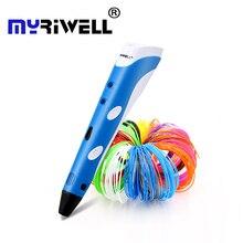 מקורי Myriwell 3D הדפסת pen1.75mm ABS חכם 3d ציור עטים + משלוח נימה + מחשב שקוף רך ציור לוח 5 משלוח מתנות