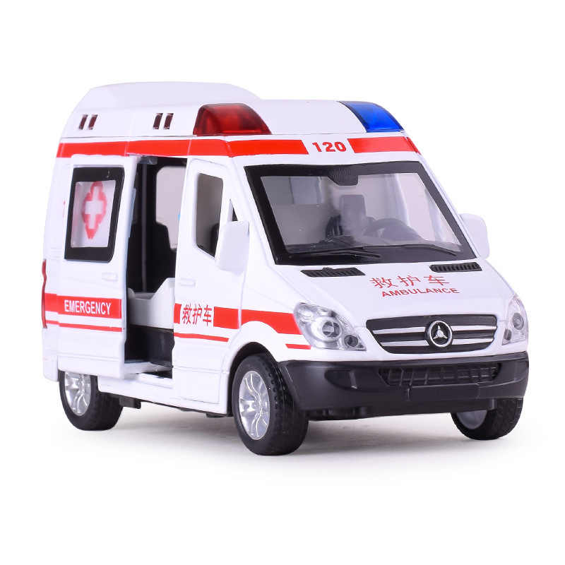 1:32 Alloy Ambulance Police Cars Diecasts & Toy Vehicles Model Fire Truck Metal Pull Back Sound & Light Car Toys For Children