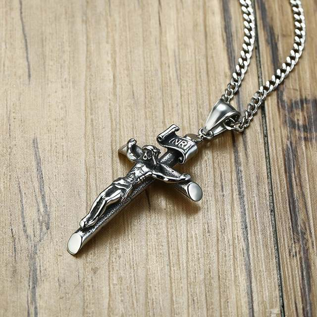 US $4 07 48% OFF|Vantage Mens Crucifix Necklace Ancient Silver Stainless  Steel Italian Chain Male Charm Cross Pendant Jewelry-in Pendant Necklaces