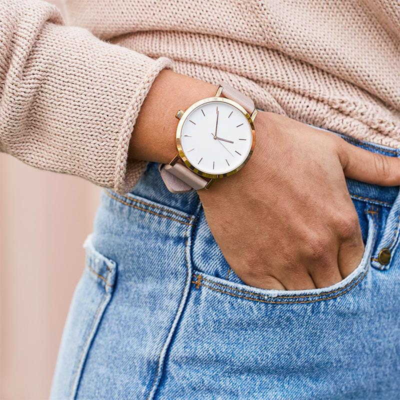 Women Lady Watches Minimalist Style Leather Band Stainless Steel Analog Quartz Wristwatch Female Casual Watch Girl's Gift 2019