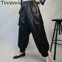 Women Pants Black PU Leather Trousers Elastic Waisted Women Harem Pants High Waist Leisure Trousers Ankle Length Pants L123
