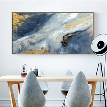 Special Oil Painting Artist Hand-painted High Quality Gold Blue White Modern Handmade Abstract