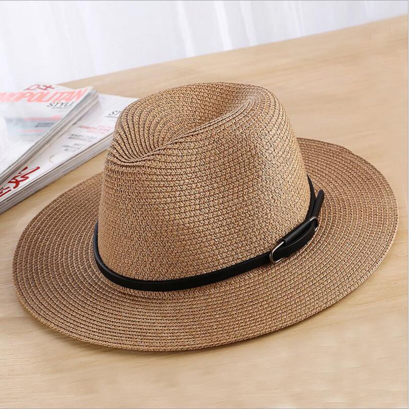 Летние шапки для мужчин и женщин, соломенная шляпа с широкими полями и пряжкой на ремешке, Панама, шляпа Sunhat, женская и мужская, джаз