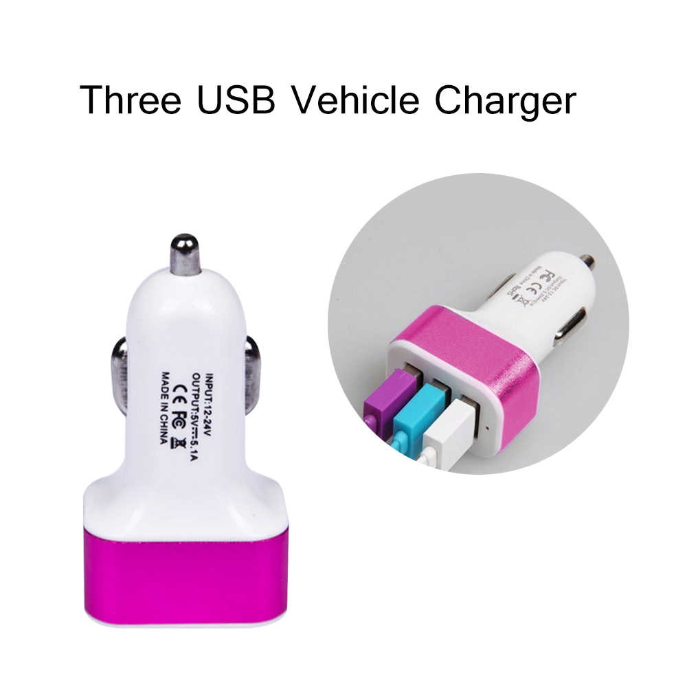 Car Phone Charger Three Port High-capacity Car Adapter For Tesla Model 3 Bmw E46 E90 Ford Focus 2 Volkswagen Passat B6 Audi A3