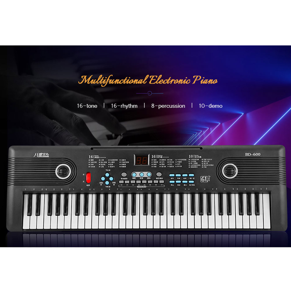 Multifunctional 61 Key Piano Keyboard 16 Tone 16 Rhythm Electronic Piano Musical Instrument with Audio Cable Microphone for Kids
