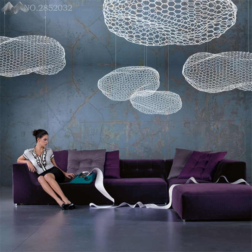 цена Nordic Spotlight LED pendant lamp Children Room Cloud Pendant Light Cloud Living Room Bedroom Bar Cafe Iron Hanging Lamp Fixture онлайн в 2017 году