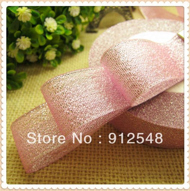 1 ribbons ribbons (25mm) em largura 25 jardas natal metálico glitter organza fitas para embrulho de presentes, decoração da sala de árvore de natal, 9866