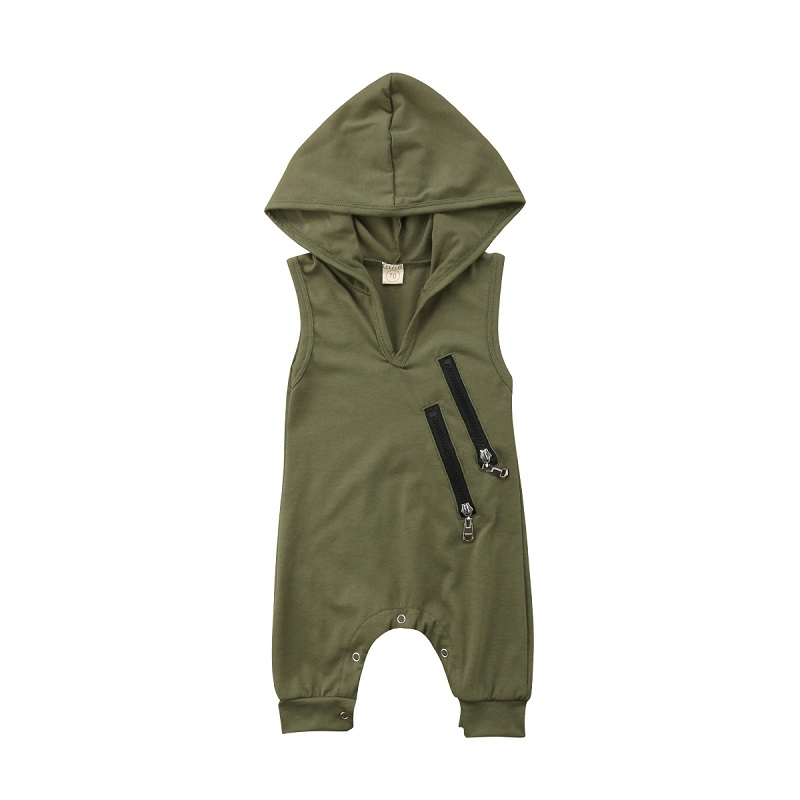 Hot Selling Lovely Baby Boys Sleeveless   Rompers   Army Green Hooded   Rompers   For Newborn Baby Boys Casual Jumpsuit Outfit Clothes