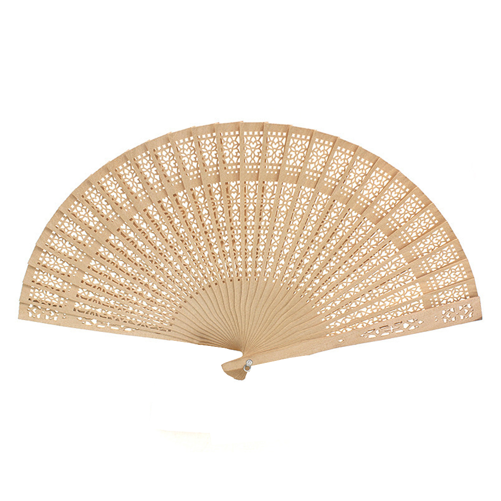 Tookie Vintage Wooden Fan, Chinese Style Hollow Flower Pattern Hollow Out Folding Wooden Hand Fan Wedding Party Gift