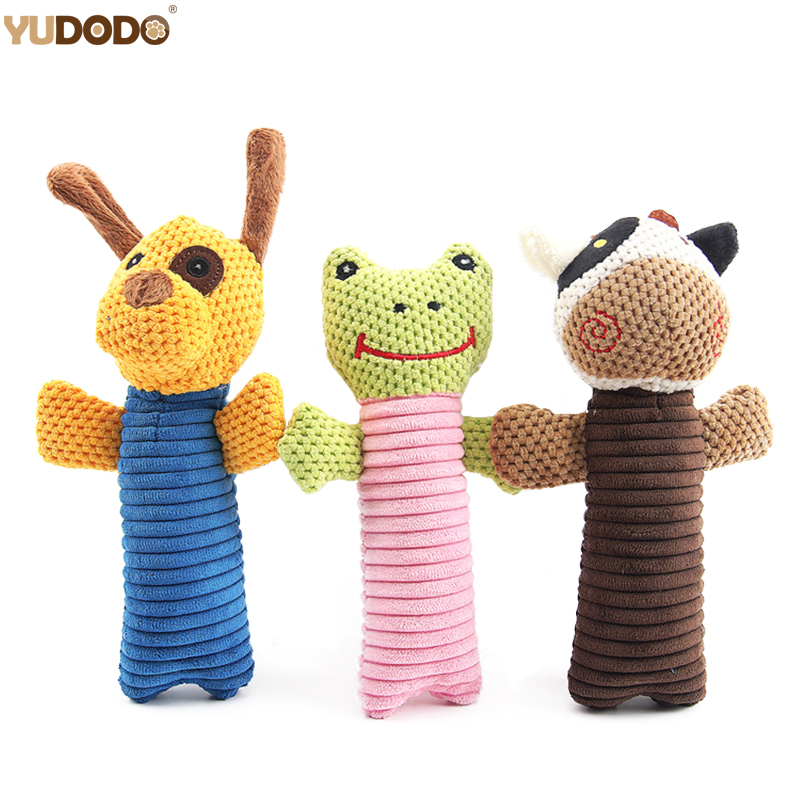 Cute Pet Dog Toys Cartoon Animals Squeak Sound Puppy Cat Plush Chew Toys Interactive Toy For Small Dogs