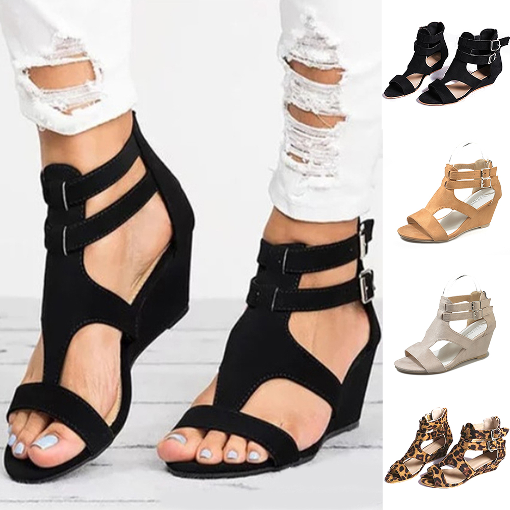 Fashion Sandals Shoes Buckle-Strap Wedges Women Solid-Middle-Heel Leopard Summer New