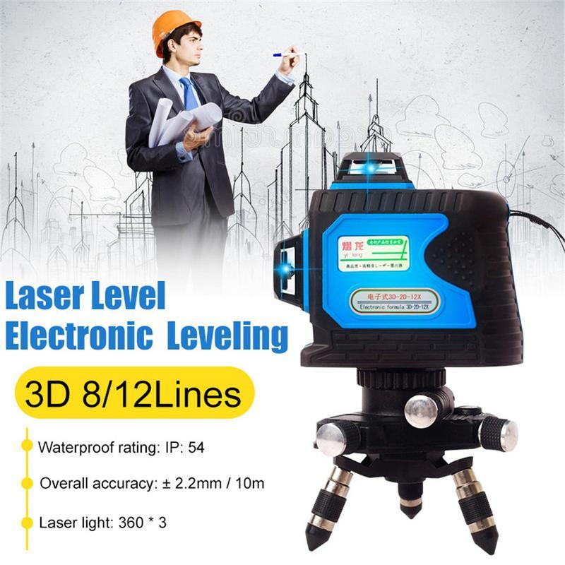 Laser Niveau 12 Ligne Niveau Vert Lumière Mètres Mur 3d Intelligent Électronique De Haute Précision Automatique Ligne Instrument Ligne Mètre