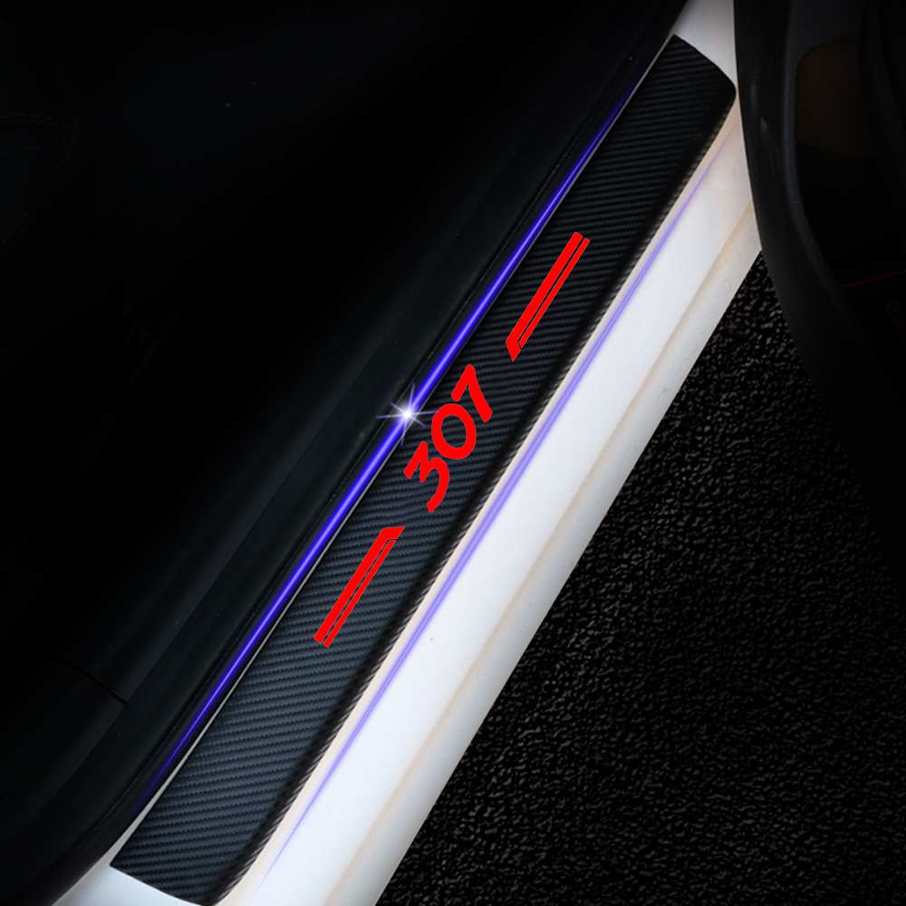 Para Peugeot 307 Carro Adesivos Olhar De Fibra De Carbono Etiqueta Do Carro do Peitoril Da Porta Da Placa do Scuff Soleira Da Porta Tampa Anti Scratch Decalque 4 Pcs