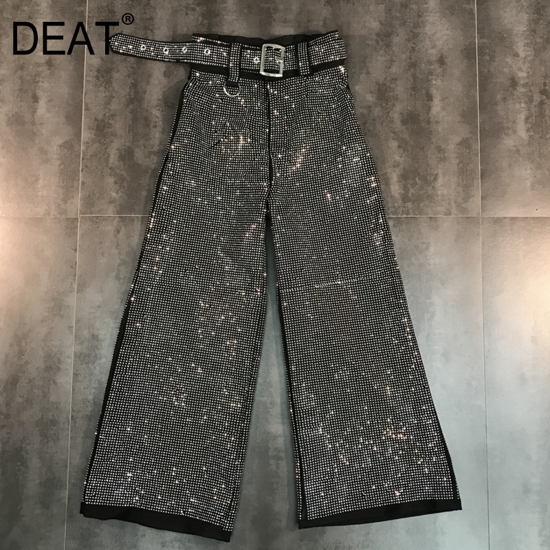 DEAT 2018 Fashion New Shining Loose Sashes Casual Women Pants Trendy Autumn Tide Personality Hot Sale