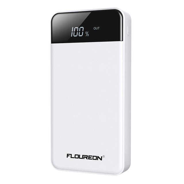 FLOUREON 20000mAh Power Bank 2.1A Fast Charge 4 USB Output 2 Input Portable External Battery Pack for iPhone X Samsung Xiaomi