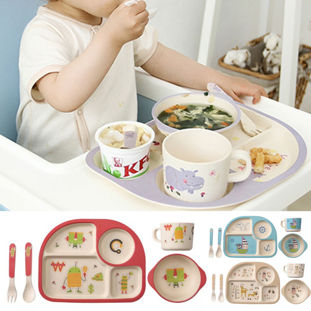 5Pcs/Set Baby Feeding Bowl Plate Dishes Fork Spoon Cup Children Tableware Bamboo Fiber Cartoon Separation Feeding Plate 4 Colors5Pcs/Set Baby Feeding Bowl Plate Dishes Fork Spoon Cup Children Tableware Bamboo Fiber Cartoon Separation Feeding Plate 4 Colors