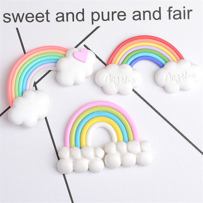 10Pc DIY Phone Hairpin Accessories Rainbow Cake Topper Birthday Party Decorations Kid Birthday Unicorn Party Wedding DecorationS