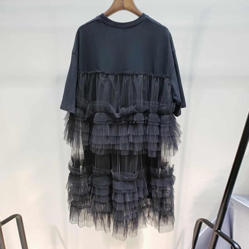 LANMREM/2019 Новая летняя одежда для женщин, Сетчатое платье высокого качества с коротким рукавом, платье из двух частей, хит продаж, YH034