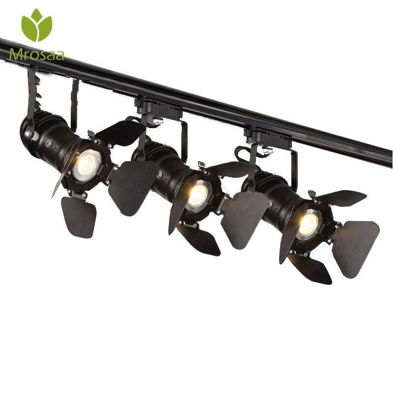 Mrosaa Retro Minimalist E27 LED Tracking Light Spot Light Ceiling Lamp 110V/220V Indoor Lighting for Hallway Clothing Store Bar