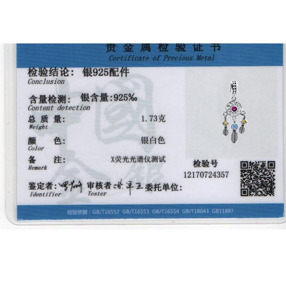 925 Sterling Gümüş Kulon Dream Catcher Charm uyğun Avropa - Moda zərgərlik - Fotoqrafiya 6