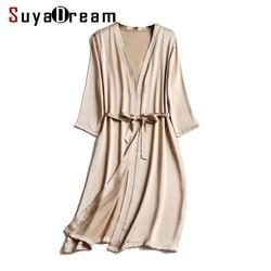 Женский сатиновый халат до колена, 100% натуральный шелка, с поясом, для здорового сна, 2020, летняя и осенняя Домашняя одежда, кимоно