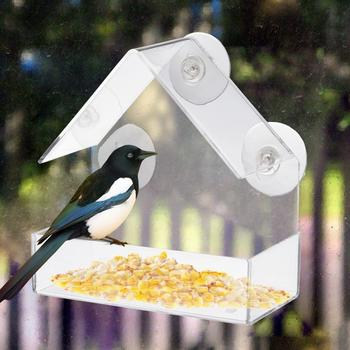 Transparant Acryl Adsorptie Type Huis Vorm Vogel Feeder Innovatieve Zuignap Feeder Vogel Benodigdheden