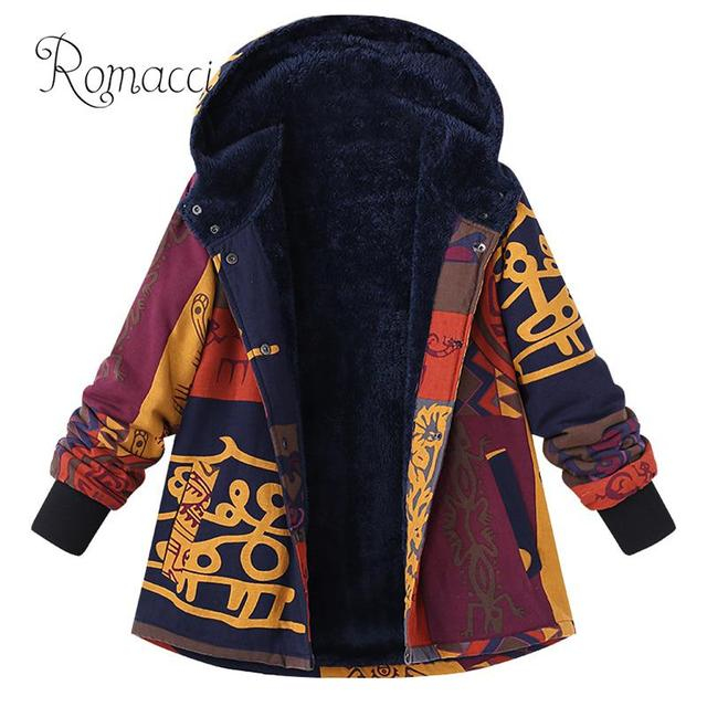 2c6791c5f5c US $16.62 44% OFF Vintage Women Hooded Coat 5XL Plus Size Fleece Lined  chaquetas mujer invierno 2019 Press Stud Long Sleeve Manteau Basic  Jacket-in ...