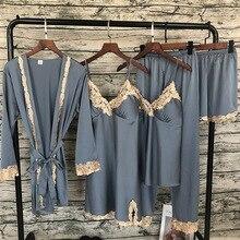 Lisacmvpnel Kant Sexy Pyjama 5 Pcs Vest + Nachthemd + Broek Set Pyjama Voor Vrouwen