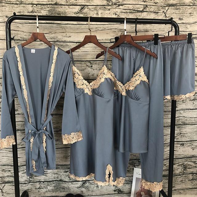 Lisacmvpnel Lace Sexy Pajamas 5 Pcs Cardigan+Nightdress+Pant Set Pyjama For Women