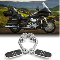 Long Adjustable Chrome Rear Foot Peg Pedals Footrest Mount with 3 Allen Keys For Harley Davidson 2002 2014 32mm 1.25